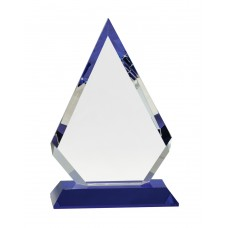 CRY272 Clear Crystal Diamond on Blue Pedestal Base 9 inch